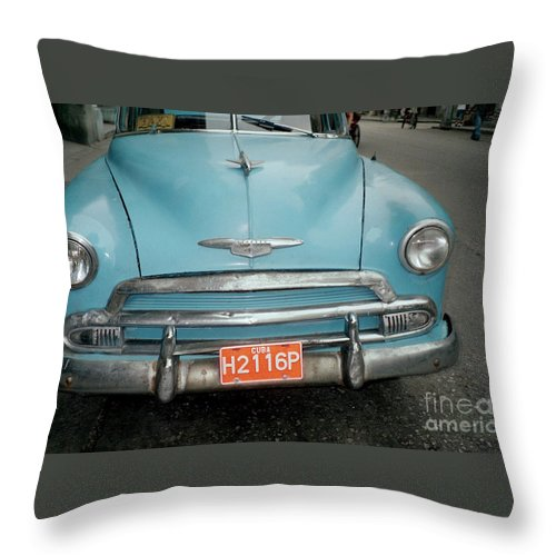 Taxi Throw Pillow featuring the photograph Old Havana Cab by Quin Sweetman