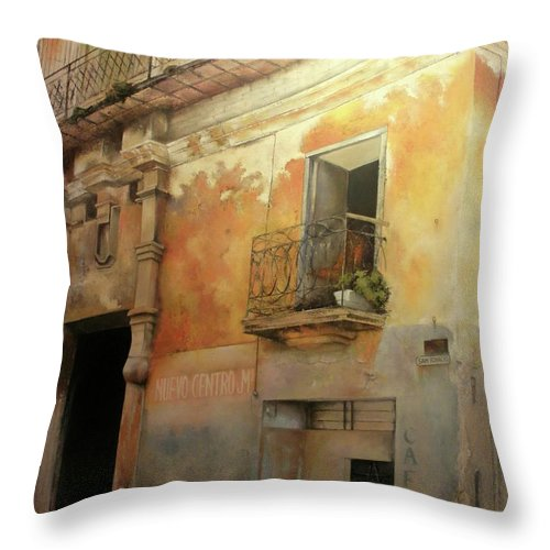 Havana Cuba Throw Pillow featuring the painting Old Havana by Tomas Castano