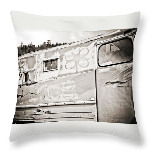 Americana Throw Pillow featuring the photograph Old Hippie Peace Van by Marilyn Hunt