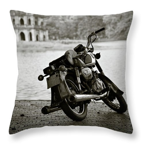 Honda Throw Pillow featuring the photograph Old Honda In Hanoi by Dave Bowman