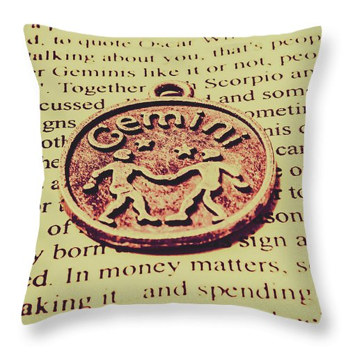 Symbol Throw Pillow featuring the photograph Old Horoscope Of Gemini by Jorgo Photography - Wall Art Gallery