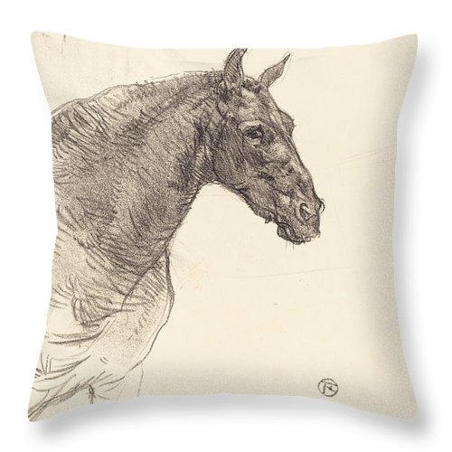 Throw Pillow featuring the drawing Old Horse (le Vieux Cheval) by Henri De Toulouse-lautrec