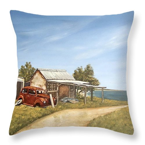 Old House Sea Seascape Landscape Throw Pillow featuring the painting Old House By The Sea by Natalia Tejera