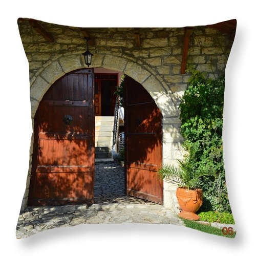 Throw Pillow featuring the photograph Old House Door by Nuri Osmani