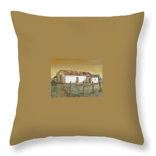Old House Landscape Country Throw Pillow featuring the painting Old House by Natalia Tejera