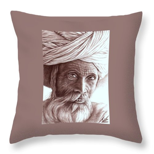 Man Throw Pillow featuring the drawing Old Indian Man by Nicole Zeug