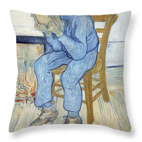 Male; Elderly; Seated; Head In Hands; Despair; Desperate Throw Pillow featuring the painting Old Man In Sorrow by Vincent van Gogh