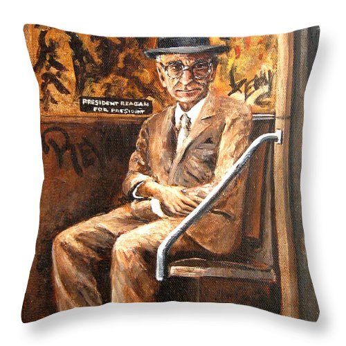 People Throw Pillow featuring the painting Old Man In Subway by Leonardo Ruggieri