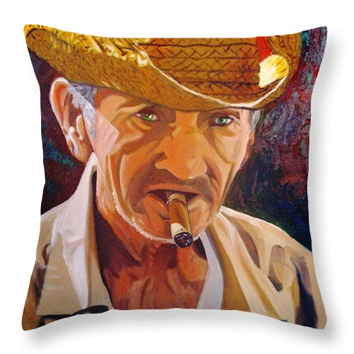 Cuban Art Throw Pillow featuring the painting Old Man by Jose Manuel Abraham