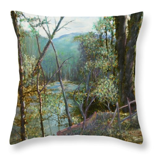 River; Trees; Landscape Throw Pillow featuring the painting Old Man River by Ben Kiger