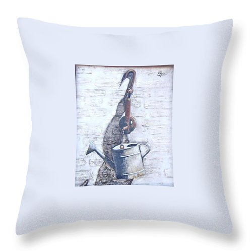 Old Metal Still Life Throw Pillow featuring the painting Old Metal by Natalia Tejera