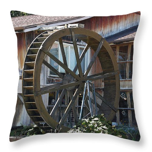 Water Throw Pillow featuring the digital art Old Mill Store Entry To Caverns by DigiArt Diaries by Vicky B Fuller