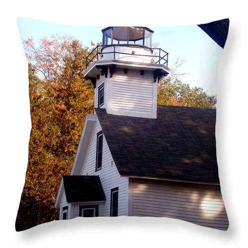 Lighthouse Throw Pillow featuring the painting Old Mission Point Light House by Wayne Potrafka