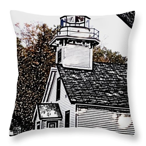 Altered Throw Pillow featuring the photograph Old Mission Point by Wayne Potrafka