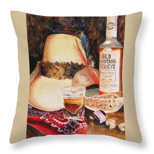 Whiskey Throw Pillow featuring the painting Old Montana Red Eye by Karen Stark