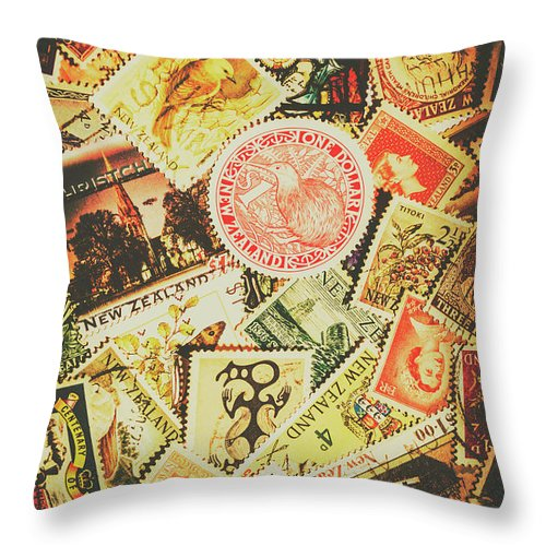 Old New Zealand Stamps Throw Pillow for Sale by Jorgo Photography ...