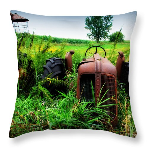Tractor Throw Pillow featuring the photograph Old Oliver by Perry Webster