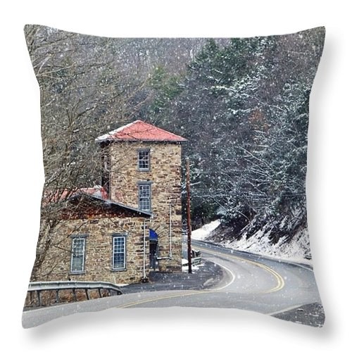 Stone Building Throw Pillow featuring the photograph Old Paint Mill Winter Time by Stephanie Calhoun