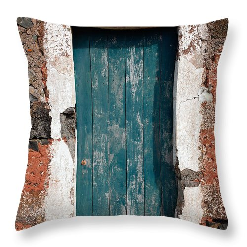 Abandoned Throw Pillow featuring the photograph Old Painted Door by Gaspar Avila