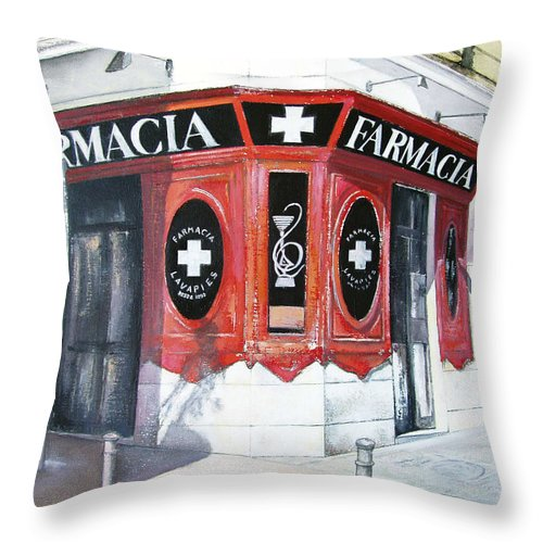 Pharmacy Throw Pillow featuring the painting Old Pharmacy by Tomas Castano