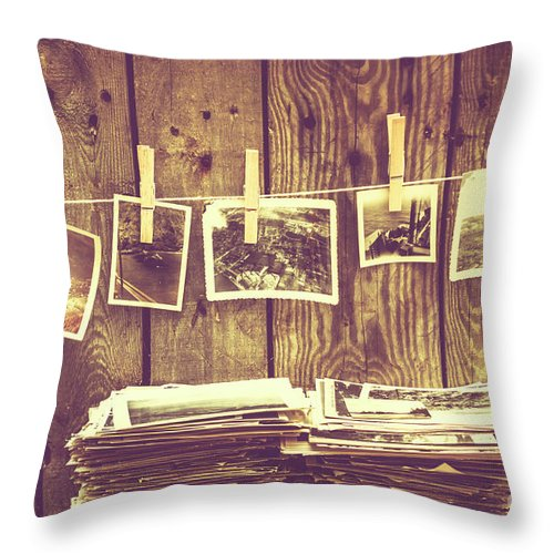 Still-life Throw Pillow featuring the photograph Old Photo Archive by Jorgo Photography - Wall Art Gallery