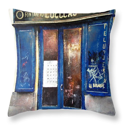 Old Throw Pillow featuring the painting Old Plumbing-madrid by Tomas Castano