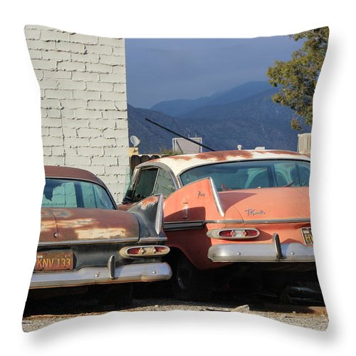 Classic Plymouth Throw Pillow featuring the photograph Old Plymouths With Mountain View by Colleen Cornelius