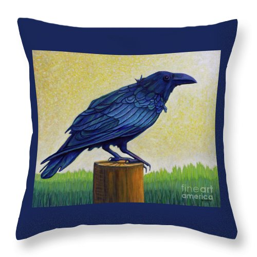 Raven Throw Pillow featuring the painting Old Priest In Passion by Brian Commerford