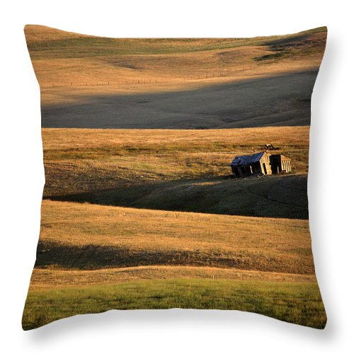 Foothills Throw Pillow featuring the digital art Old Ranch Buildings In Alberta by Mark Duffy