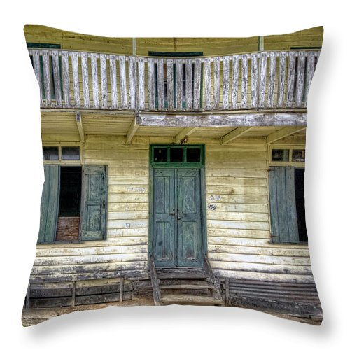 Suriname Throw Pillow featuring the photograph Old River House by Nadia Sanowar