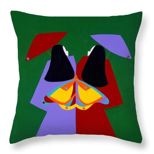Asian Throw Pillow featuring the painting Old Same by Synthia SAINT JAMES