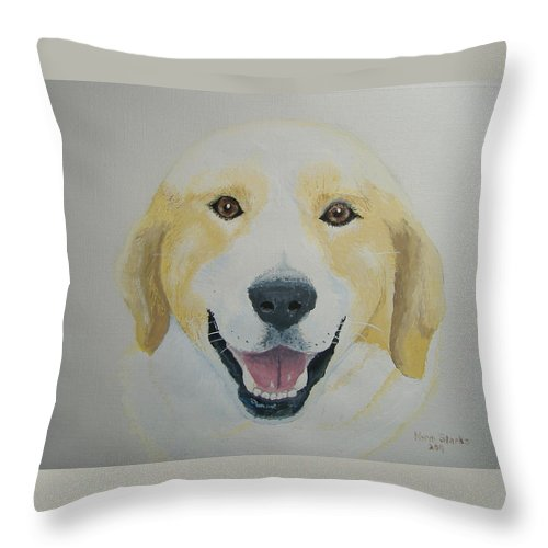 Dog Throw Pillow featuring the painting Old Shep by Norm Starks