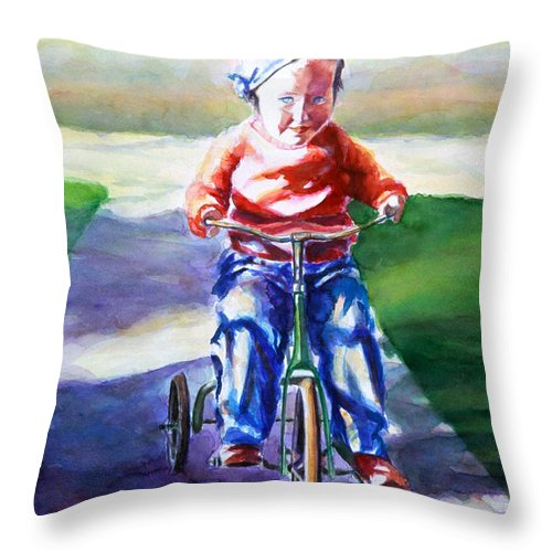 Girl Throw Pillow featuring the painting Old Soul by Shannon Grissom