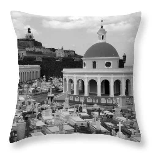 San Juan Throw Pillow featuring the photograph Old Spanish Graveyard by Perry Webster