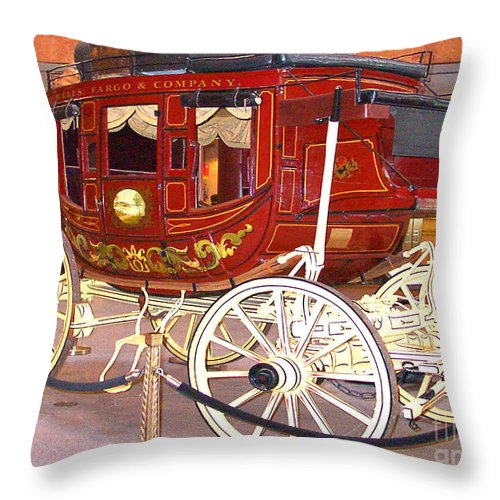 I Saw His Real Throw Pillow featuring the photograph Old Stagecoach - Wells Fargo Inc. by Merton Allen