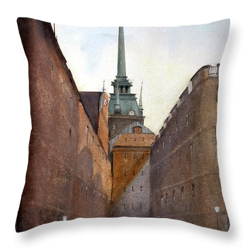 Stockhlolm Swedes Throw Pillow featuring the painting Old Stockholm by Charles Rowland