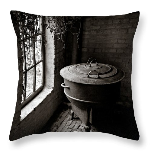 Old Throw Pillow featuring the photograph Old Stove by Dave Bowman