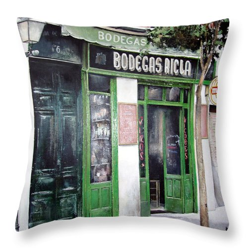 Bodegas Throw Pillow featuring the painting Old Tavern-madrid by Tomas Castano