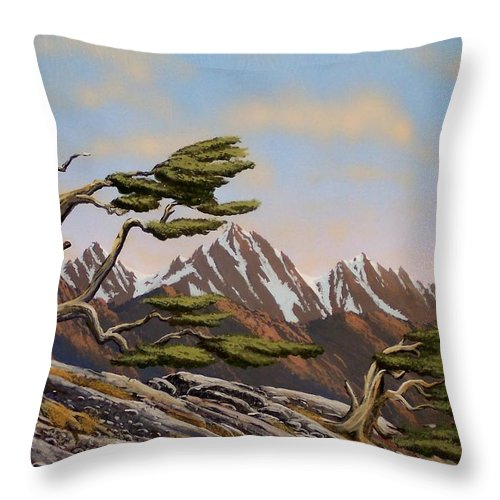Mountains Throw Pillow featuring the painting Old Timers by Frank Wilson