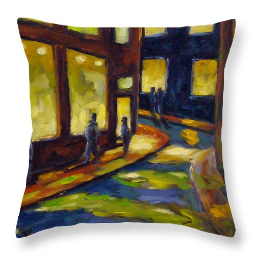 Urban; Scene; People; Night; Street; City; Scape; Love; Throw Pillow featuring the painting Old Town At Night by Richard T Pranke