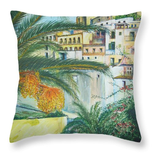 Ibiza Old Town Throw Pillow featuring the painting Old Town Ibiza by Lizzy Forrester