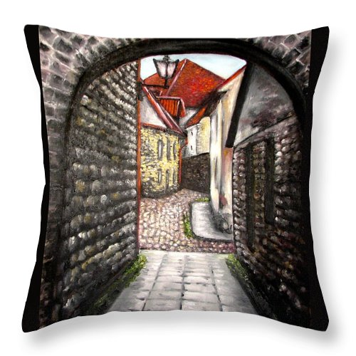Town Throw Pillow featuring the painting Old Town Oil Paining by Natalja Picugina