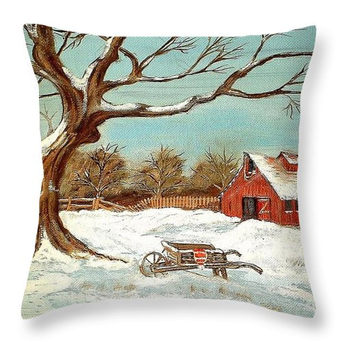 Old Tree Barn Wheelbarrow Snow Winter Painting Throw Pillow featuring the painting Old Tree And Barn by Kenneth LePoidevin