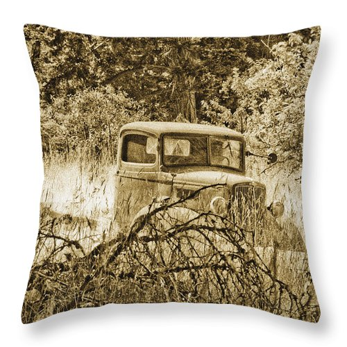 Vintage Throw Pillow featuring the photograph Old Truck by Linda McRae