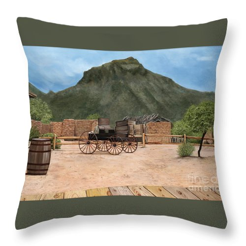 Art Throw Pillow featuring the painting Old Tucson by Mary Rogers