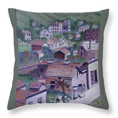 Ventura Throw Pillow featuring the painting Old Ventura by Laurie Morgan