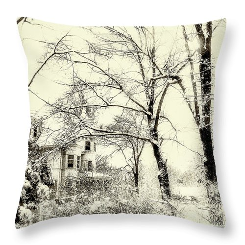 Winter Throw Pillow featuring the photograph Old Victorian In Winter by Julie Palencia