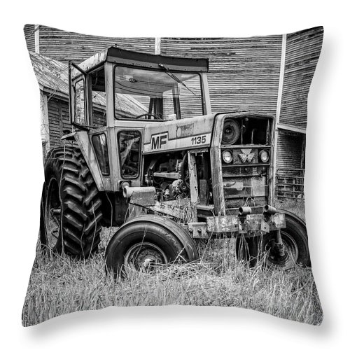 Barn Throw Pillow featuring the photograph Old Vintage Tractor On A Farm In New Hampshire Square by Edward Fielding