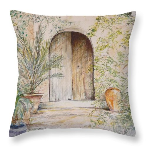Door Throw Pillow featuring the painting Old Wooden Door by Lizzy Forrester