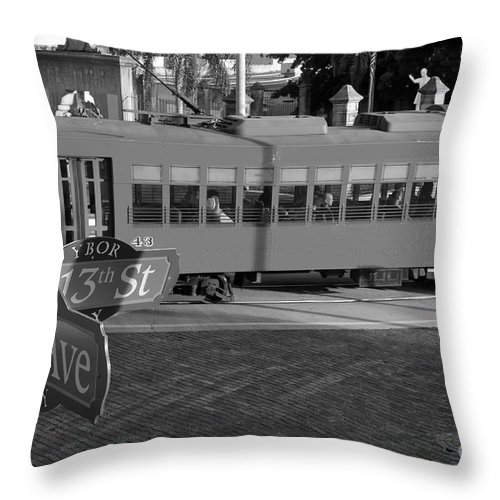 Ybor City Florida Throw Pillow featuring the photograph Old Ybor City Trolley by David Lee Thompson